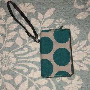 Thirty One Gray and Turquoise Polka Dot Wristlet